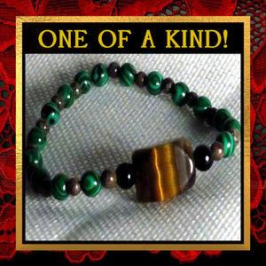Tigereye & Malachite Gemstone Bracelet #122
